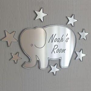 Elephant Mirror Personalised Door Name Plaque Boy Girls Bed Room Sign