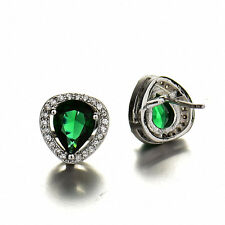 Trendy White Gold Filled Women Pear Emerald CZ Stud Earrings Valentine's Present