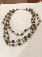 Vintage AB Dark Amber Faceted Glass Bead Multi Strand Choker Necklace