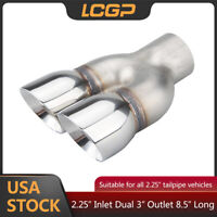 """Universal Exhaust Tip 2.25"""" Inlet 3"""" Dual Staggered Outlet 8.5"""" Long Muffler Tip"""