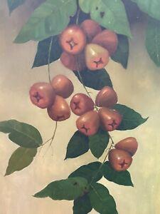 """""""Branche de Jambu"""" École indonésienne. Huile sur toile signée 1988, Bali."""