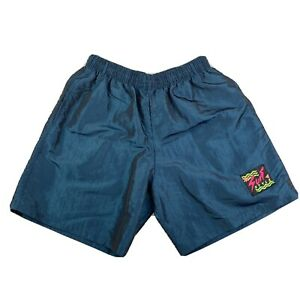 Vintage 90s Surf Style Swim Trunks Iridescent Blue Shorts  Size Large