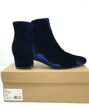 Joie Fennellie Ankle boots booties Navy Blue Velvet heel shoes SZ 39 luxury 9