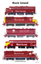"Rock Island Maroon Locomotives 11""x17"" Railroad Poster by Andy Fletcher signed"