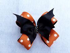Halloween, not so spooky Bat hair bow, 4 inches, Orange, hair clip, headband