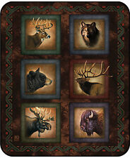 Sig Collection Lodge Series Elk Bear Wolf Native Queen High Quality Mink Blanket