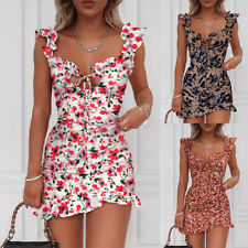 Women's Floral Printed V Neck Ruffle Frill Mini Dress Party Sexy Bodycon Dresses