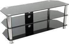 AVF Universal Black Glass and Chrome Legs TV Stand