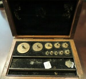 Vintage Estate Brass Scale Weight Set complete with weights in Wood Box Set C