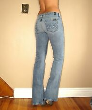 $215 Seven 7 For All Mankind Crystal A-Pocket Flare Jeans Vint Light Distress 25