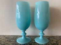 Lot of 2 Vtg Portieux Vallerysthal French Blue Opaline Milk Glass Petit Goblets
