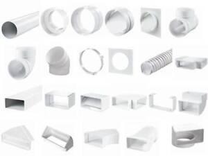 Rundrohr Flachkanal Verbinder Bogen Lüftungskanal PVC Flexrohr Alle Varianten