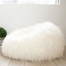 934a15da10 Ivory   Deene IVD216 Shaggy Faux Fur Bean Bag Cover - Ivory