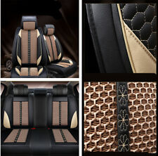 Set Beige PU Leather+Ice Silk Seat Covers Cushion Comfort Pad Mat for 5-seat Car