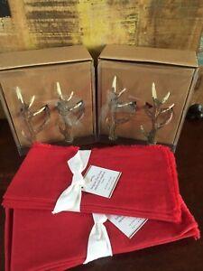 Pottery Barn Set Of 8 Antler Napkin Rings Red Belgian Linen Napkins Christmas