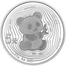 China 5 Yuan 2017 - Panda - 35. Jubiläum der Panda Goldmünzen - 15 gr. Silber PP