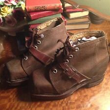 Antique Child's Shoes France Unused 1940s Leather French Theatre Movie Prop
