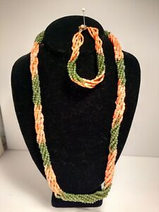 Multi (6) strand twisted Pink Coral and jade Necklace & Bracelet