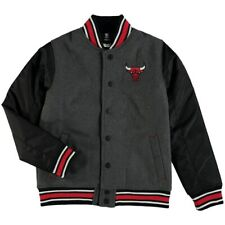 Chicago Bulls NBA Youth Black Letterman Jacket with Embroidered Bull logo