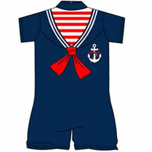 Girls Boys Navy Blue Sailor Swimming Swim Costume Surf Suit 18 24 2 3 4 5 Years