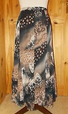 GERRY WEBER brown black orange ivory floral chiffon midi flared skirt 12 38