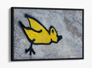 BANKSY CHICK GRAFFITI -DEEP FLOATER/FLOAT EFFECT FRAMED CANVAS WALL ART PRINT