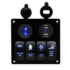 4-Gang Blue LED Car Marine Boat Circuit Rocker Switch Panel Voltmeter Waterproof