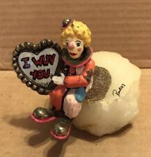 "Vintage 1987 Ron Lee Clown Figurine with ""I Wuv You� sign"