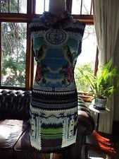 BRITISH DESIGNER INSPIRED ANTIQUE INDIAN BIRD STAMP TUNIC dress - NEW COND -S
