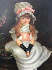 Old Oil Painting After Sir John Everett Millais Young Girl Portrait Cherry Ripe