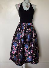 Vera & Lucy Black Floral Fully Lined Polyester Fit And Flare Skirt Size 16