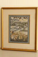 Rajasthani Indian Miniature Painting Of Maharaja Procession Artwork On Silk