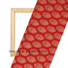 Hand Block Print 2.5 Yard Sanganeri Indian Natural Sewing Fabric Dressmaking