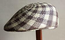 "Genuine Panama Hat Montecristi Flat cap ""Ivy"" brown Men Woman Straw Ecuador"