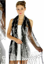 Butterfly swirl Sequin Shawl Black/Silver, Wedding, Prom, Formal, 100% Polyester