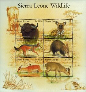 MODERN GEMS - Sierra Leone - Wildlife Animals II - Sheet of 6 - MNH