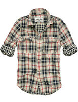 $78 Mens CALI HOLI Long Sleeve Cotton Check Shirt Beige Red 9900533