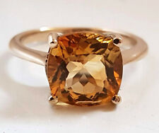 R224.1 Genuine 9ct or 18K Gold LARGE Natural Citrine Ring Cushion Solitaire