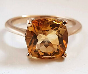 R224.1 Genuine 9ct Yellow Gold LARGE Natural Citrine Ring Cushion Solitaire size