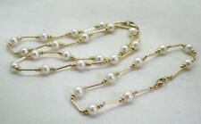 VIntage Beautiful 9 Carat Gold And Cultured Pearl Necklace And Bracelet