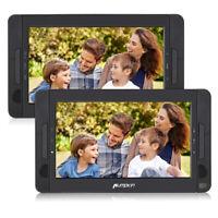 """2X10.1"""" HD Auto 2 Monitore Tragbarer DVD Player Kopfstütze Fernseher USB SD AKKU"""