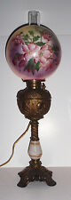 Antique Victorian Parlour Banquet Oil Lamp w/original Hand Painted Globe, Miller