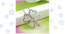 New Four Leaf Clover Silver Necklace Open Hollow Design Pendant Lucky 4 Leaf