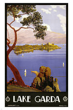 LAKE GARDA ITALY vintage travel poster SAILBOATS ISLAND 24X36 first rate