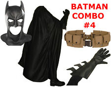 BATMAN The Dark Knight Rises costume cowl, cape, gloves, REAL brown utility belt