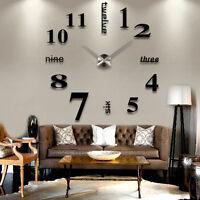 Design Wand Uhr Wohnzimmer Wanduhr Spiegel Edelstahl wandtattoo Deko 3D ^