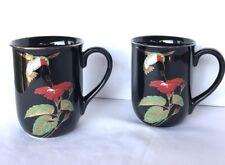 Otagiri Hummingbird Coffee Mug Set Black Gold Rim Gibson Collectible 2 each