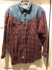 Vintage Cherokee Man Pearl Snap Western Cowboy Rodeo Button Up Shirt SZ Medium