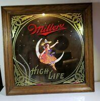 "Miller High Life Beer Bar Mirror Girl On Moon Vintage 14""x14"" Mancave decor 1980"