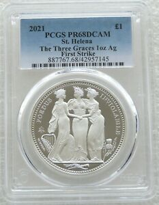2021 Three Graces £1 One Pound Silver Proof 1oz Coin PCGS PR68 DCAM First Strike